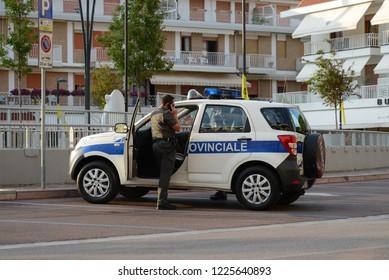 LIDO DI JESOLO, ITALY - JUNE 12, 2013: Daihatsu Terios Local Police car (Polizia Locale) on duty
