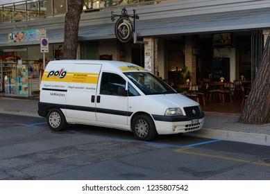 LIDO DI JESOLO, ITALY - JUNE 13, 2013: Fiat Scudo delivery van on the Italian street