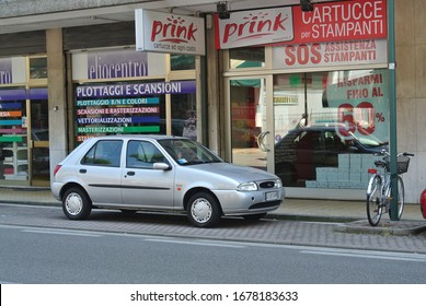 LIDO DI JESOLO, ITALY - JUNE 20, 2014: Ford Fiesta Fourth generation popular compact city 1990s car on the street