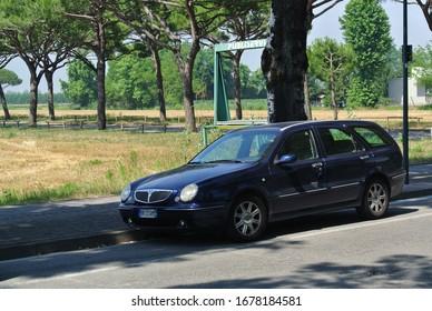 LIDO DI JESOLO, ITALY - JUNE 20, 2014: Lancia Lybra (Type 839) Station Wagon estate Italian 1990s midsize luxury car on the modern city street traffic