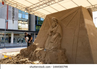 LIDO DI JESOLO, ITALY - May 24, 2019 : Sand Sculptures Festival in Lido di Jesolo at adriatic Sea in a beautiful summer day, Italy on  May 24, 2019