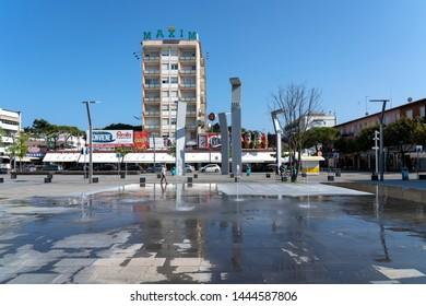 LIDO DI JESOLO, ITALY - May 24, 2019 : city center of Lido di Jesolo at adriatic Sea in a beautiful summer day, Italy. Lido di Jesolo near Venice, Veneto region, Italy.