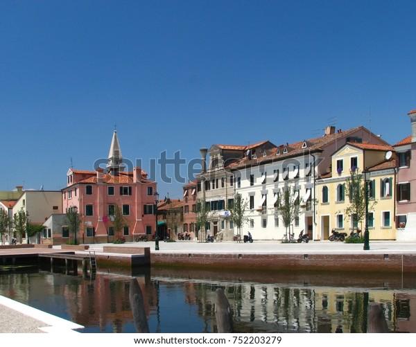 Lido, Malamocco town on an island near Venice Italy