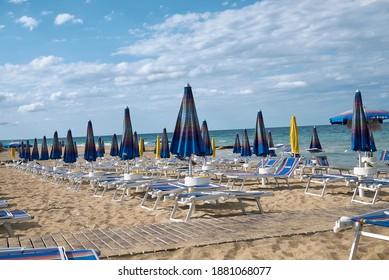 Lido Morelli, Italy - September 03, 2020 : View of Lido Morelli beach club