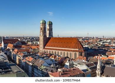 Liebfrauenkirche in Munich under clear blue sky