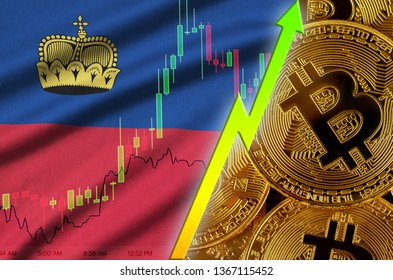 Liechtenstein flag and cryptocurrency growing trend with many golden bitcoins