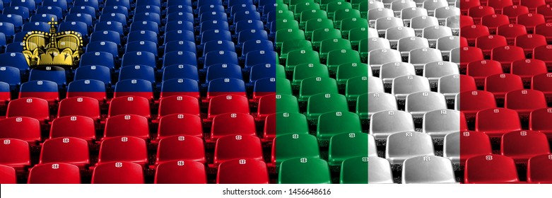 Liechtenstein, Liechtensteins, Italia, Italian stadium seats concept. European football qualifications games.