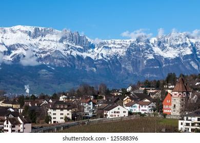 Liechtenstein, Vaduz, top view
