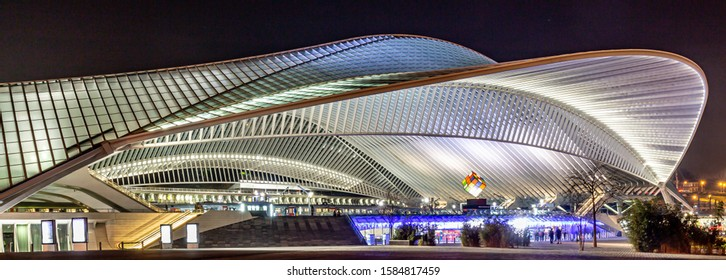Liege, Belgium 12/04/2019 Futuristic Liege-Guillemins railway station in Belgium, the station is made of steel, glass and white concrete and designed by the Spanish architect Santiago Calatrava