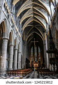 LIEGE, BELGIUM - 3 JULY , 2018 : Interior hall with columns. Cathedral Saint-Paul of Liège. Belgium.