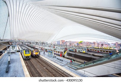 LIEGE, BELGIUM - 30 APRIL, 2016: View on one of the most impressive Belgian railway stations in Liege, which was designed by Santiago Calatrava. Liege, Belgium on 30 April, 2016.