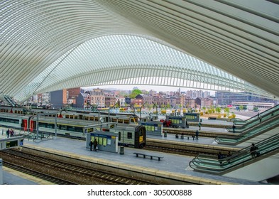 LIEGE, BELGIUM, APRIL 13, 2014: Detailed view over one of the most impressive belgian railway stations in Liege, which was designed by Santiago Calatrava.