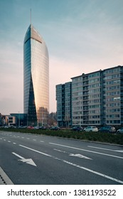 Liege, Belgium - April 14, 2019: The Tour Paradis is a 136-meter office skyscraper located in the Guillemins area of Liege. Constructed from 2012 to 2014, it is the tallest skyscraper in Wallonia.