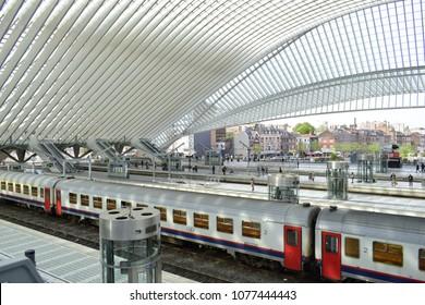 LIEGE, BELGIUM - April 24, 2018: Liege-Guillemins train railway station in Liege, Belgium, this station designed by Santiago Calatrava, he is spanish architect.