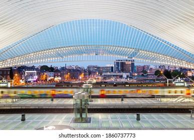 Liege, Belgium - April 28th 2018; Interior of the Liege-Guillemins station designed by Santiago Calatrava at sunset