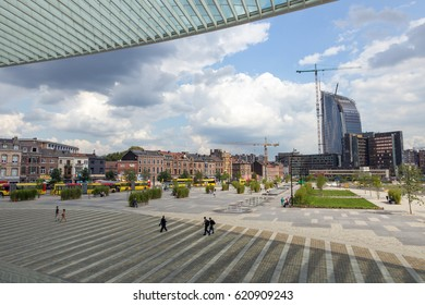 LIEGE, BELGIUM - AUG 5, 2014: View on the city of Liege from the central railway station Liege-Guillemins.