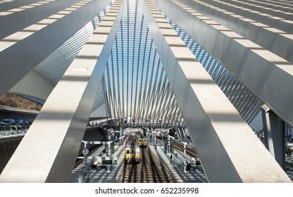LIEGE, BELGIUM - CIRCA MARCH 2017: Famous Liege Guillemins railway station, built by the famous architect Santiago Calatrava.