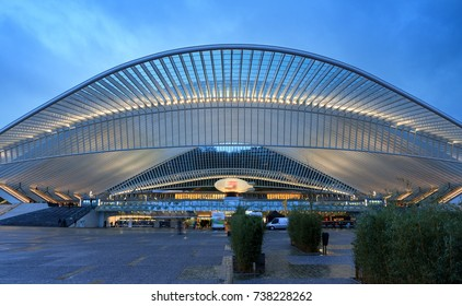 LIEGE, BELGIUM - DECEMBER 12, 2014: Beautiful view of the modern architecture railway station Liege-Guillemins in the blue hour in Belgium on December 12, 2014