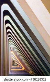 LIEGE, BELGIUM - DECEMBER 12, 2014: Beautiful abstract view of the interior of the modern architecture railway station Liege-Guillemins with concrete shapes and lines in Belgium on December 12, 2014