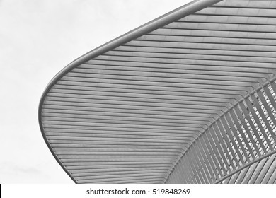 LIEGE, BELGIUM - December 2014: Abstract view on the roof of the Liege-Guillemins railway station, designed by Santiago Calatrava. Black and white photograph