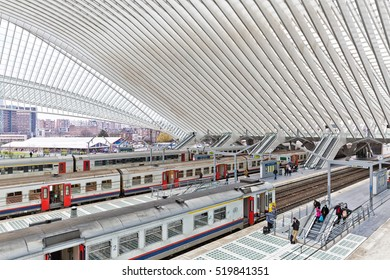 LIEGE, BELGIUM - December 2014: Platform with people waiting for the train in the Liege-Guillemins railway station, designed by Santiago Calatrava