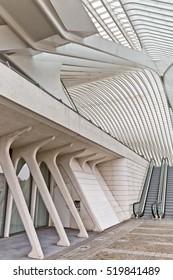 LIEGE, BELGIUM - December 2014: View on escalators in the Liege-Guillemins railway station, designed by Santiago Calatrava