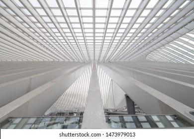 Liege / Belgium - December 2018: Roof of the Liege-Guillemins trainstation