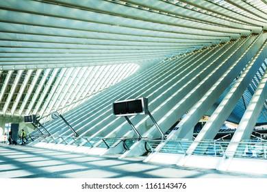 LIEGE, BELGIUM - February 24, 2018: famous architecture railway station Liege-Guillemins