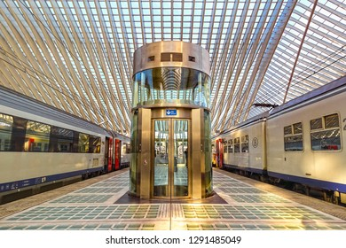 Liege, Belgium - January 19, 2019: Railway station at Liege Guillemins, designed by the Spanish architect Santiago Calatrava. The famous modern art building is the gateway to the city of Liege.