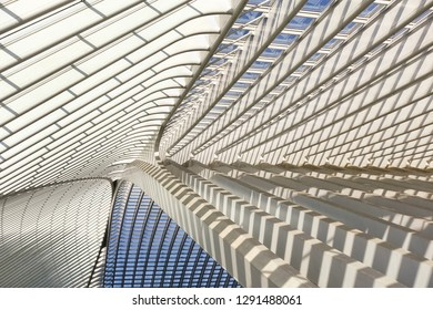 Liege, Belgium - January 19, 2019: Texture of the roof of the railway station at Liege Guillemins, made by the Spanish architect Santiago Calatrava. Gateway to the city of Liege