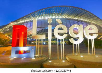 Liege, Belgium - January 19, 2019: Liege sign at the railway station at Liege Guillemins, designed by the Spanish architect Santiago Calatrava. The building is the gateway to the city of Liege.