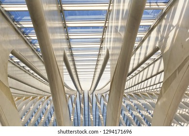 Liege, Belgium - January 19, 2019: Pattern of the roof of the railway station at Liege Guillemins, made by the Spanish architect Santiago Calatrava. Gateway to the city of Liege