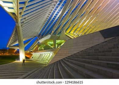 Liege, Belgium - January 19, 2019: Railway station at Liege Guillemins, created by the Spanish architect Santiago Calatrava. Gateway to the city of Liege.