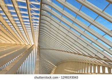 Liege, Belgium - January 19, 2019: Pattern of the roof of the railway station at Liege Guillemins, made by the Spanish architect Santiago Calatrava. Gateway to the city of Liege.