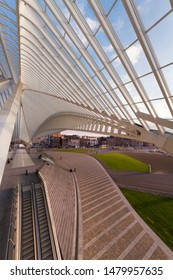 Liege Belgium July 3rd 2011 - Santiago Calatrava is an architect who is famous for harmonic architecture. Here in Liege Guillemins railway station with a steel structure for beautiful light and shadow