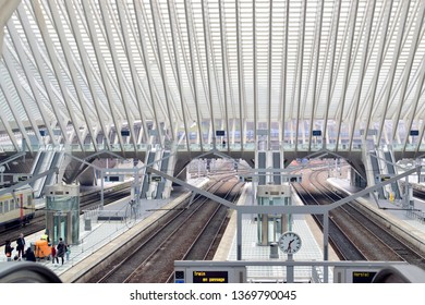 LIEGE, BELGIUM - March 23, 2019 : Interior views of Liege-Guillemins train railway station in Liege, Belgium, this station designed by Santiago Calatrava, he is spanish architect.