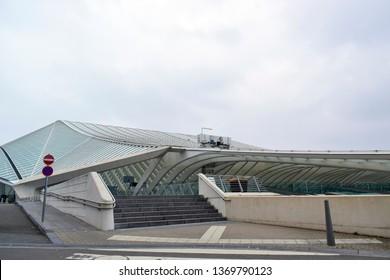 LIEGE, BELGIUM - March 23, 2019 : Beautiful views of Liege-Guillemins train railway station in Liege, Belgium, this station designed by Santiago Calatrava, he is spanish architect.