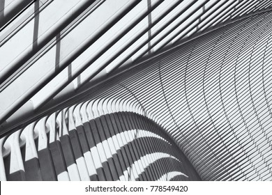 LIEGE, BELGIUM, MAY 2015. Abstracted image of a part of the futuristic roof structure of the Liege-Guillemnins railway station.