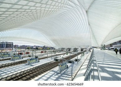 LIEGE, BELGIUM, MAY 2015. Overview of the train platforms at the Liege-Guillemins railway station. Editorial use only.