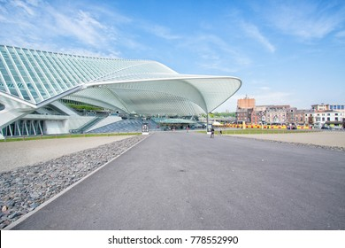 LIEGE, BELGIUM, MAY 2015. View on the main entrance of the Liege-Guillemins railway station.