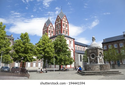 Liege, Belgium - May 22, 2014: Square and Church of Saint Bartolomy in Liege, Belgium