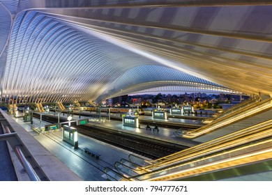 LIEGE, BELGIUM - MAY 9: Train railway station at twilight by Santiago Calatrava on May 9, 2017 in Liege.