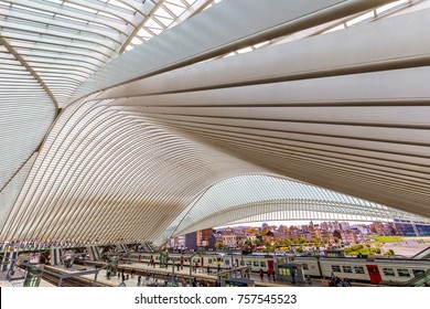 LIEGE, BELGIUM - November 2017: Liege-Guillemins railway station designed by famous architect Santiago Calatrava