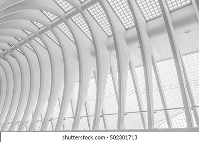 LIEGE, BELGIUM - OCTOBER 1, 2016: Architectural detail of the railway station Liege-Guillemins. The station is designed by Spanish architect Santiago Calatrava.