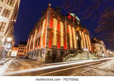 Liege city hall at night. Liege, Wallonia, Belgium.
