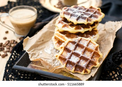 Liege homemade waffles caramelized with pearl sugar
