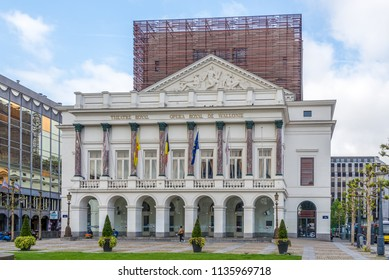 LIEGE,BELGIUM - MAY 17,2018 - Building of Royal Opera in Liege. Liege is situated in the valley of the Meuse, in the east of Belgium.