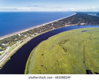 Lielupe river, gulf of Riga and Jurmala city, Latvia.