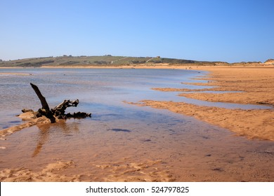 LIENCRES DUNES, SPAIN - AUGUST, 21: View of the Liencres dunes nature reserve in the Cantabrian sea on August 21, 2016