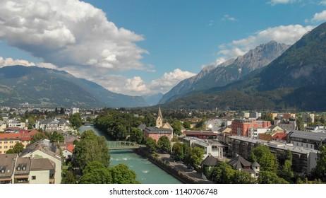 Lienz, Austria. Aerial view of beautiful alpin mountain town.